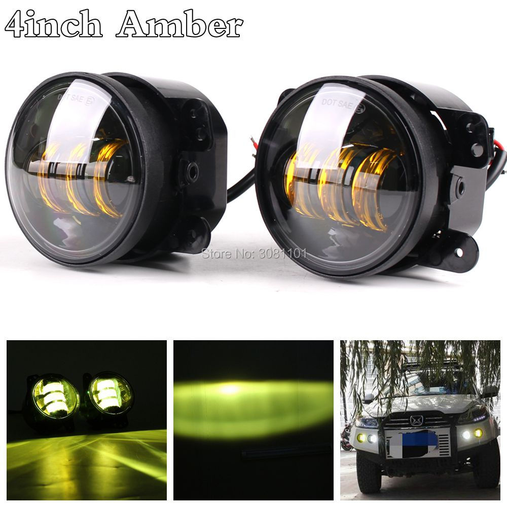 4inch 30W Amber Color LED Fog Light Auto Lens Projector Front Bumper Offroad Driving Light for Jeep Wrangler JK Dodge Chrysler 2pcs led round 4 inch fog lights 30w 4 fog lamp lens projector led driving headlamp for offroad jeep wrangler dodge chrysler