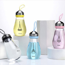 380ml Bubble Series Borosilicate Glass water bottle Cute Juice Tea Bottles With Infuser 6.5*16.5cm