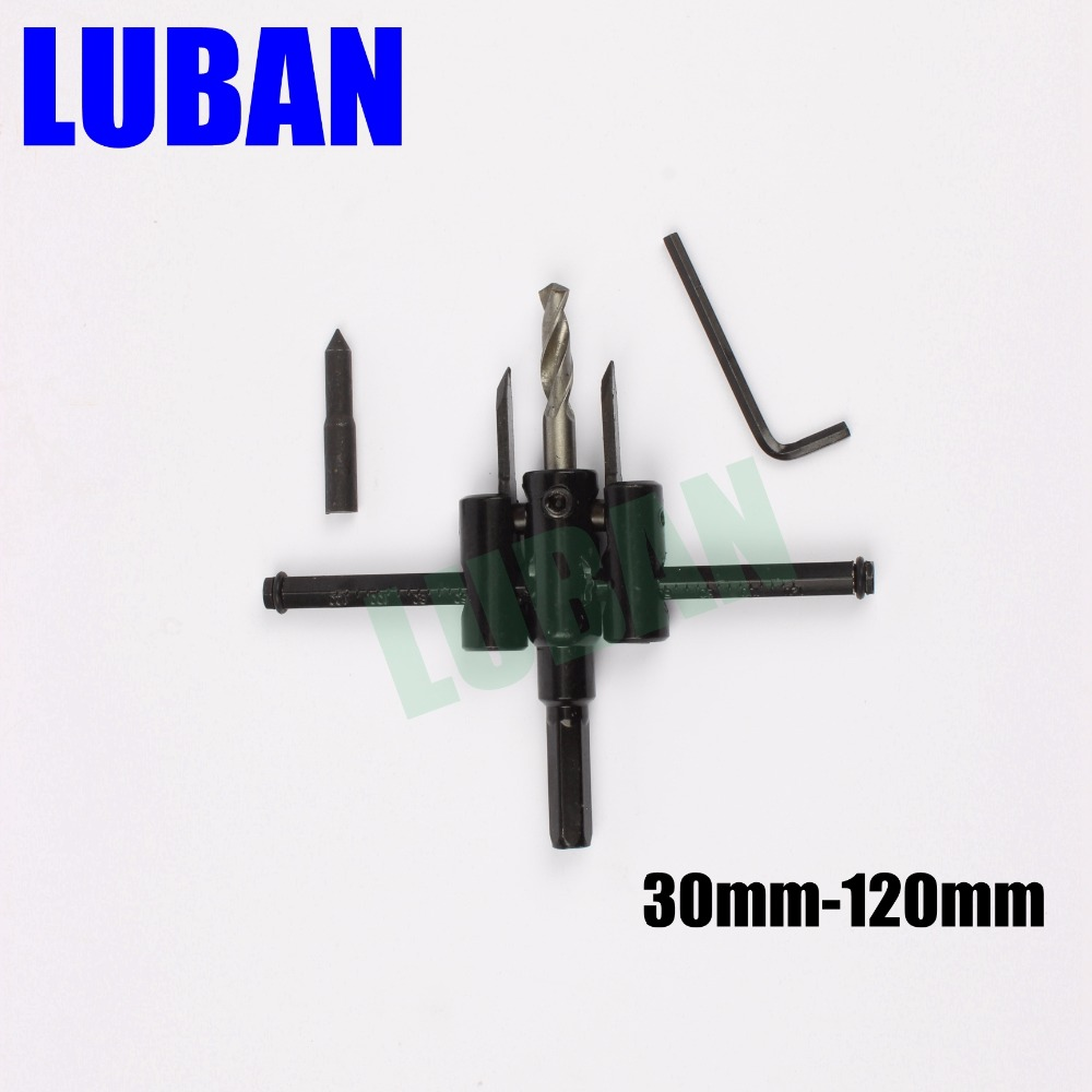 LUBAN Adjustable Metal Wood Circle Hole Saw Drill Bit Cutter Kit DIY Tool 30mm-120mm Black Alloy blade 30mm-200mm 30mm-300mm new 50mm concrete cement wall hole saw set with drill bit 200mm rod wrench for power tool