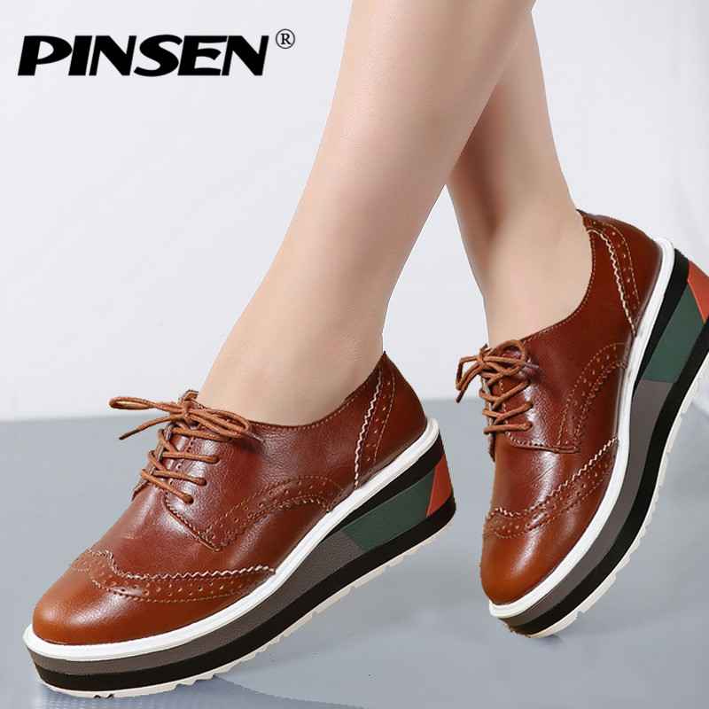 PINSEN Autumn Women Sneakers Shoes Platform Flats Brogue Genuine Leather Lace Up Sneakers with wheels creepers Shoes Moccasins new topcon bt l2 battery for topcon es os and sokkia total station gps