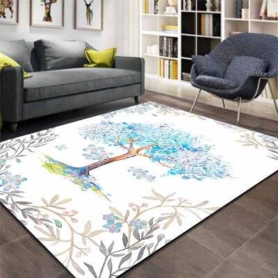 Else Blue Floral Spring Trees Flowers Frame 3d Print Non Slip Microfiber Living Room Decorative Modern Washable Area Rug Mat