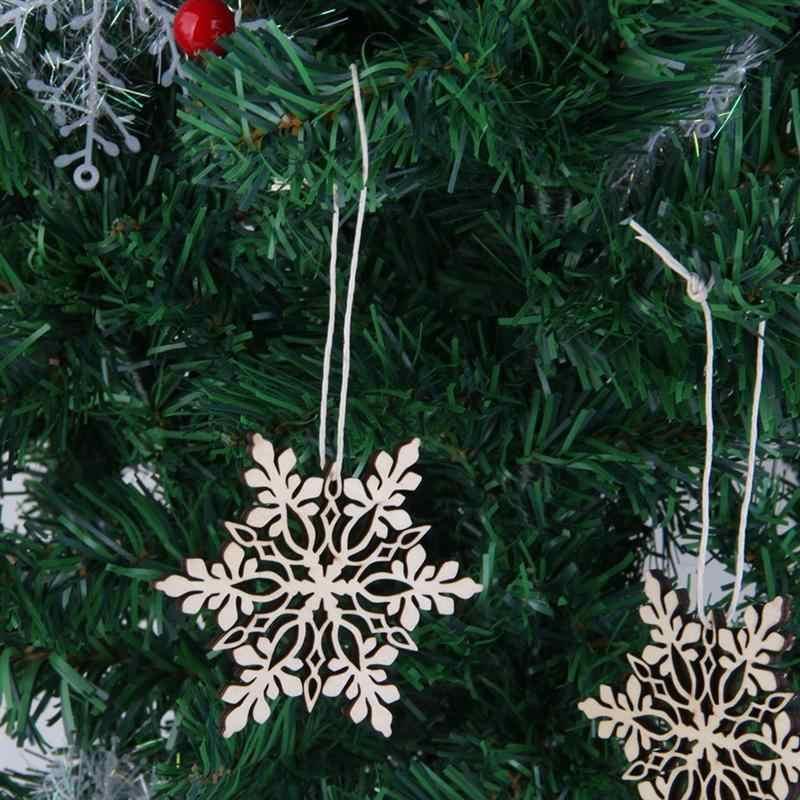 10 pçs feliz natal floco de neve árvore de natal pendurado enfeites de madeira festa decorações de natal para casa
