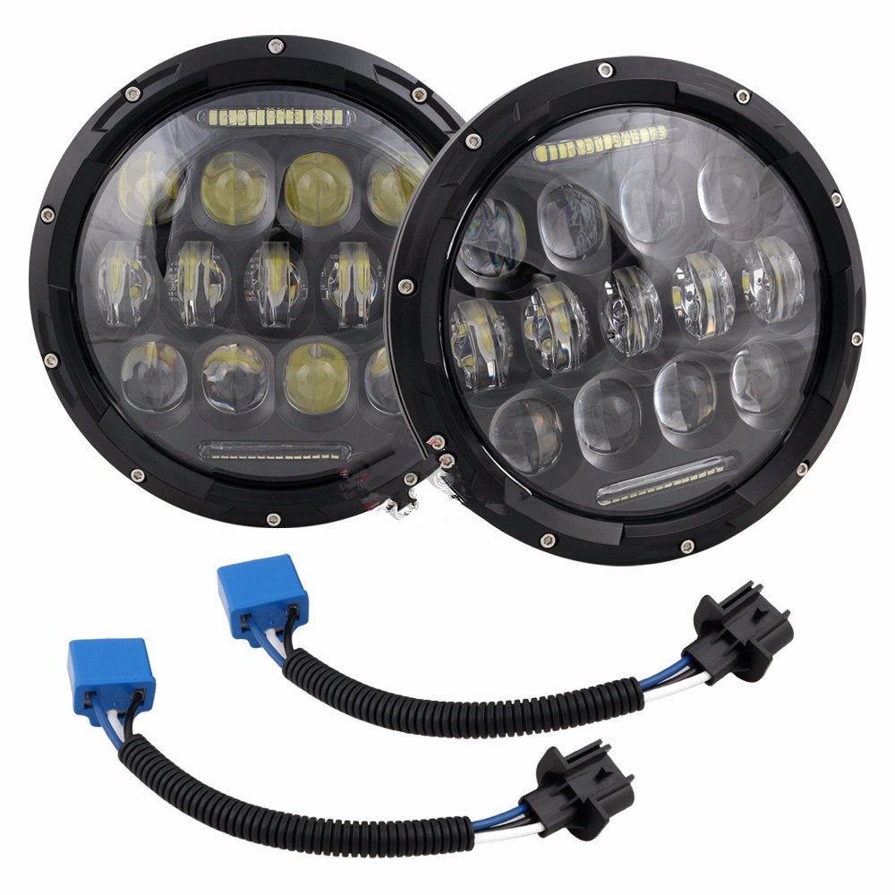 For Lada 4x4 urban Niva 7 black LED H4 headlight daymaker lamps headlamp for Jeep Wrangler JK TJ LJ faduies 7 round h4 40w hi lo beam led headlamp 7 black projector headlight halo eyes for jeep wrangler jk lj tj lada niva 4x4