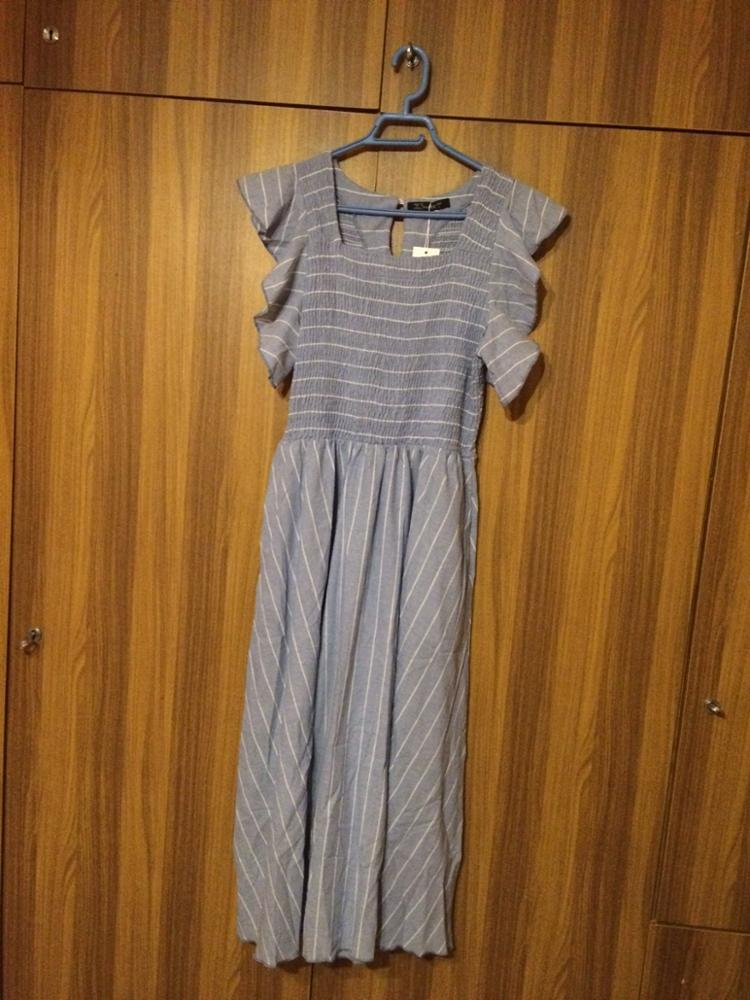 Vintage Striped Women Long Dress Ruffle Linen Blue Elegant Summer Dress Casual Cotton Fashion Female Beach Vestidos photo review