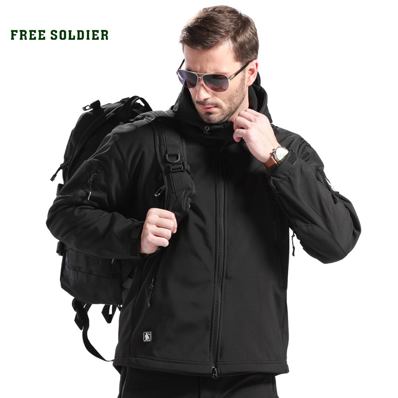 FREE SOLDIER Outdoor Sports Tactical Jacket Military Men's Clothing Warm Fleece Coat fleece lined jacket with epaulet