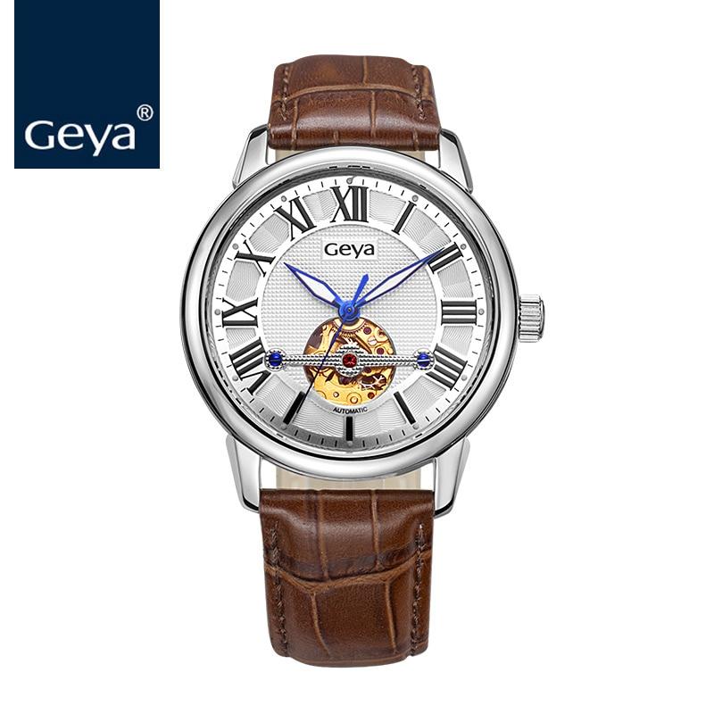 лучшая цена Geya Luxury Japan Miyota 82S0 Movement Business Men Gold Watch Automatic Mechanical Steel Clock Genuine Leather Hollow Men Watch
