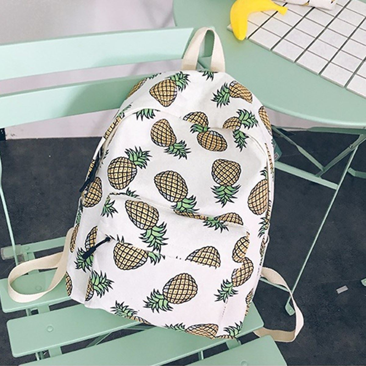 c941deb2e55b US $27.41 |AEQUEEN Cute Fruit Backpack Pineapple Print Schoolbag Teenage  Travel Mochila Daypack Girls Canvas Printing Backpacks-in Backpacks from ...