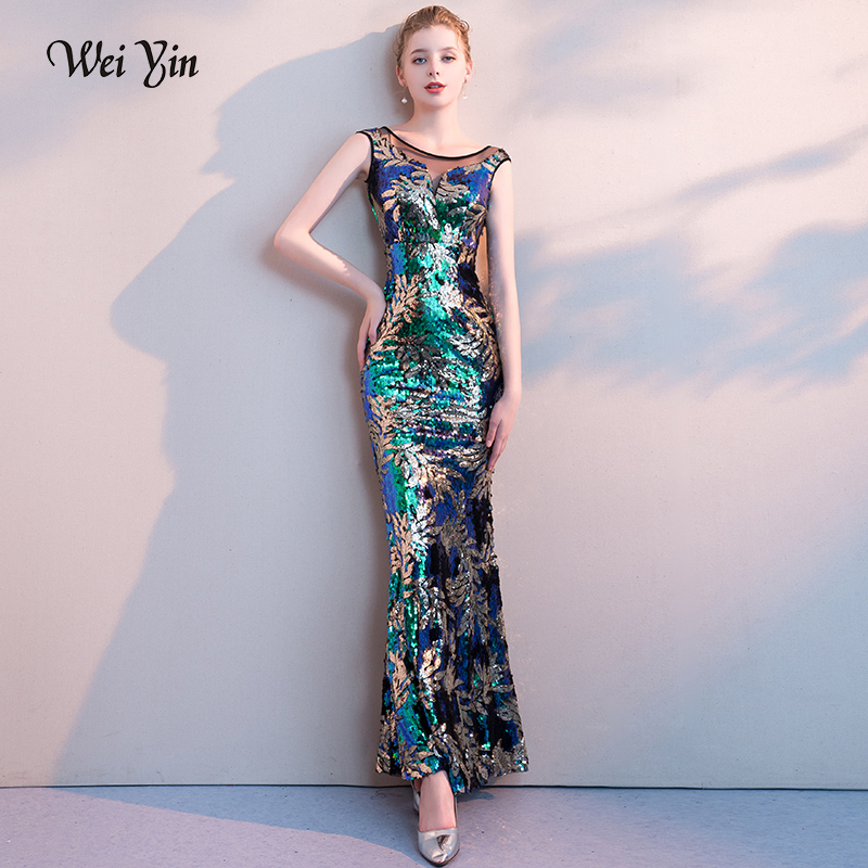 weiyin 2019 Long   Evening     Dresses   Sheer Round Neck Sequin Splicing Backless Mermaid Women Prom Party Gowns