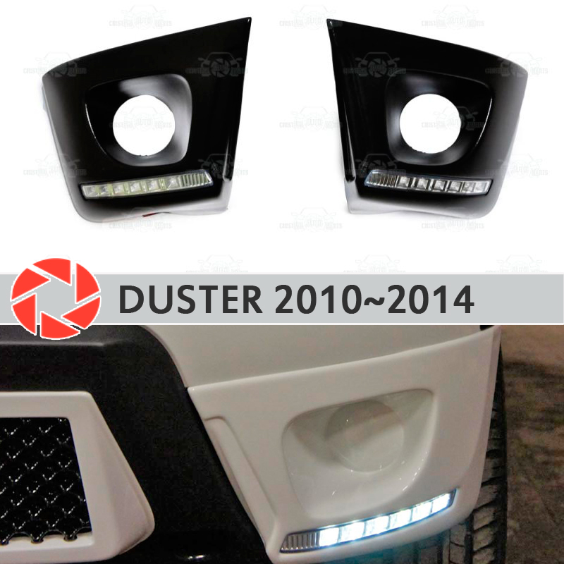 Lining the front fog lights with DRL LED for Renault Duster 2010-2014 decoration accessories car stylingplate 7 60w led fog light hi lo beam h4 socket 12v led headlight for land rover defender jeep wrangler jk cj tj lj drl 4x4 24v