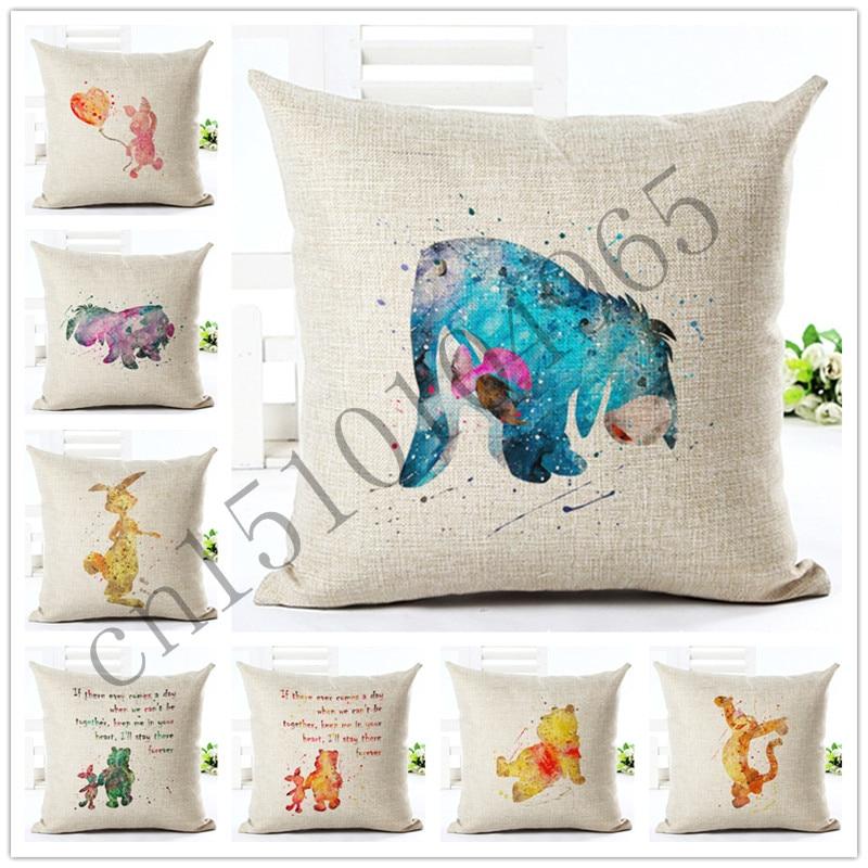 Gaya Painted Kartun Lucu Beruang Bantal Sofa Lempar Sarung Bantal Dekorasi Rumah Katun Linen Persegi Dicetak Almofadas Cojines