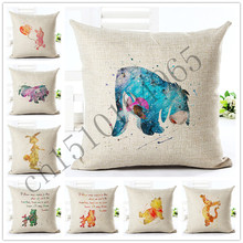 Painted Style Cartoon Cute Bear Cushion Sofa Throw Pillowcase Home Decor Cojines Cotton Linen Square Printed Almofadas