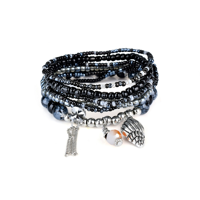 Lureme Bohemian Jewelry Beads Conch Tel Charms Multi Strand Textured Stackable Bracelets For Women Pulseras Mujer
