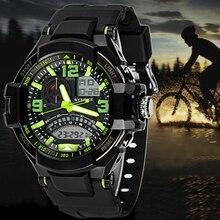 2017 Relojes de Los Hombres de Doble Pantalla Multifuncional Resistente Al Agua Militar Reloj de Pulsera Deportivo de Lujo de Cuarzo Analógico Reloj Digital