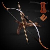 Стрельба из лука традиционная ламинированный лук комплект 6 шт. стрелка палец рука гвардии ручной работы изогнутый лук открытый Охота Стрел