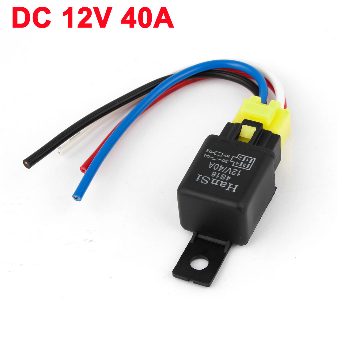 X Autohaux 12V 40A Plastic Socket Spst On On 4 Pin 4 Wires Cable ...