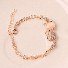 1pc Gold Color Cat Stone Unique Bracelet Classic Cute Austrian crystal Womens Jewelry Bracelet