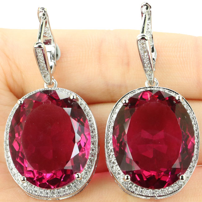 Big Oval Gemstone Ukuran 22x18mm Pink Tourmaline CZ Wanita Hadir 925 Anting-Anting Perak 40x20mm