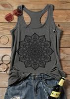 Camiseta sin mangas con estampado de Mandala para mujer, jerséis grises informales, camiseta de flores holgada, verano 2021