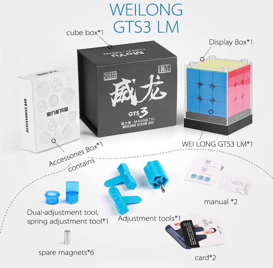 MoYu WeiLong GTS3LM 3x3 Cube magique de vitesse WeiLong GTS 3 LM Cube magnétique Puzzle professionnel weilong gts3 LM cadeau de noël