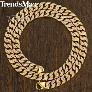 Image 4 - Trendsmax Hip Hop Iced Out Full Rhinestone Men Necklace Gold Stainless Steel Chain Necklace for Men Jewelry KHN109