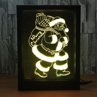 Santa Claus 3D Photo Frame Night Light Colorful Touch Remote Control Creative Products Romantic Led Lights