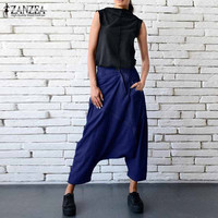 ZANZEA 2017 Autumn Women Fashion Oversized Loose Zipper Drop Crotch Basic Denim Blue Cross Pants Casual