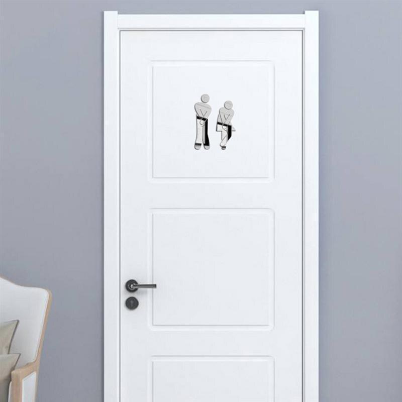 Съемный милый мужской женский Санузел Туалет WC настенный стикер СЕМЬЯ DIY Декор зеркало наклейка домашний декор для ванной комнаты(серебро