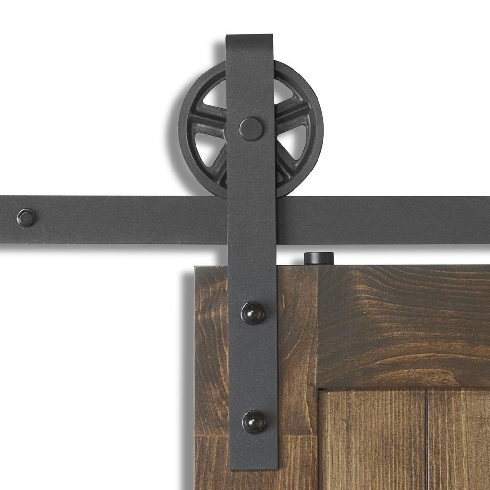Big Spoke Wheel Rustic Industrial Sliding Barn Door Hardware Kit