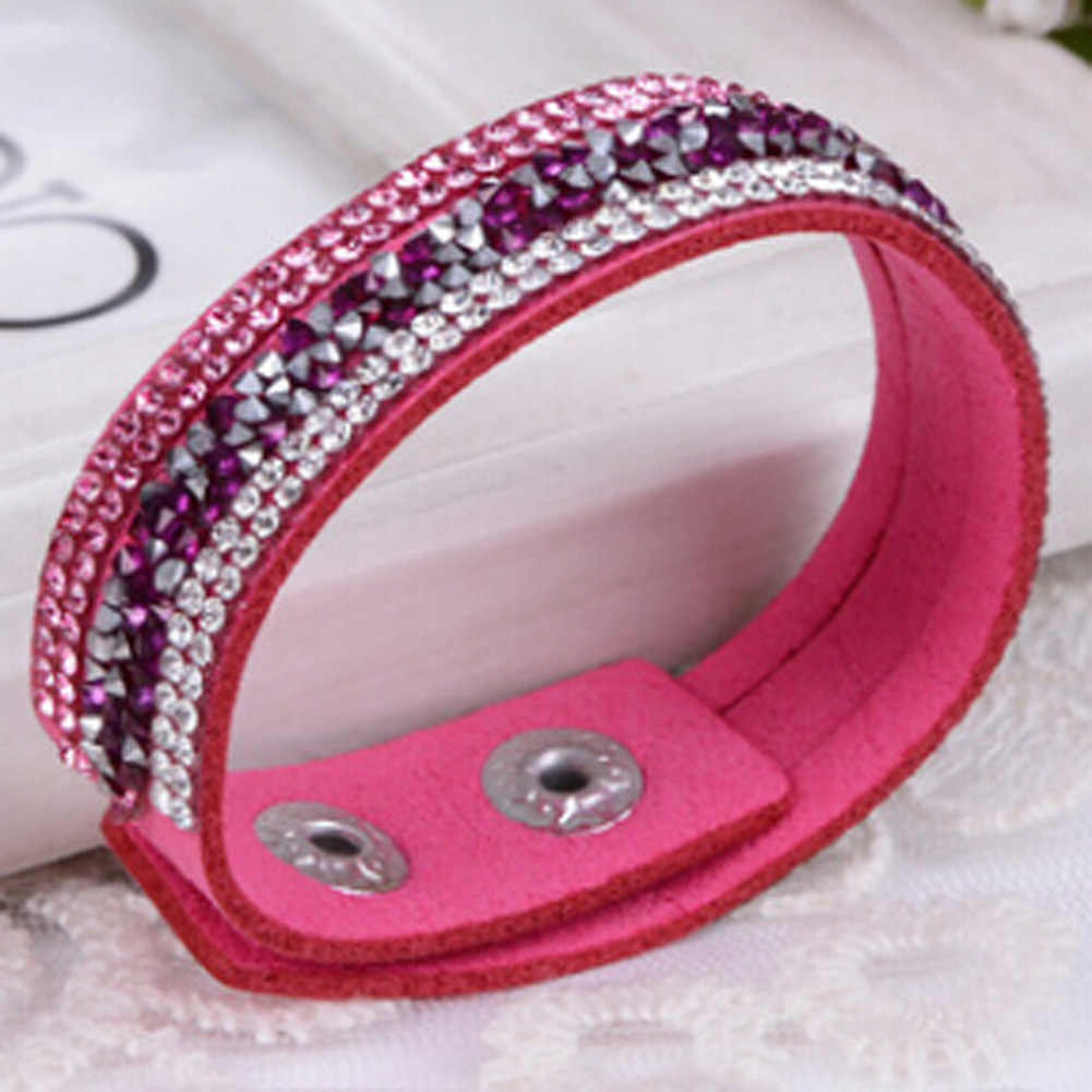 Dropshipping Punk Style Mode Rhinestone muti-lapisan Gesper Gelang Kulit Wrap Wristband Manset Gelang Bangle 11 Warna