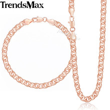 Trendsmax Curb Cuban Link Chain Womens Bracelet Necklace Jewelry Set Men Yellow White Rose Gold Filled 585 5mm KGSM03