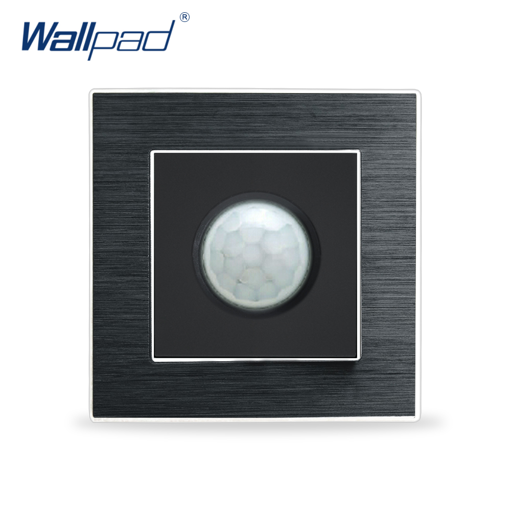 New Arrival Motion Sensor Switches Wallpad Luxury Human IR Montion Sensor Satin Metal Panel Interrupteur Stair Wall Light Switch new arrival 1 gang 1 way wallpad luxury wall light switch wooden panel push button switches interrupteur