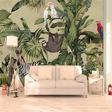 Retro Tropical Rainforest Animal Palm Leaf Living Room TV Wall Custom Wallpaper Mural Decoration