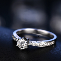 6 коготь алмазов Обручение кольцо для Для женщин 18 К белого золота 0.30 + 0.20ct натуральный Ювелирные изделия с алмазами обручальное кольцо ручн