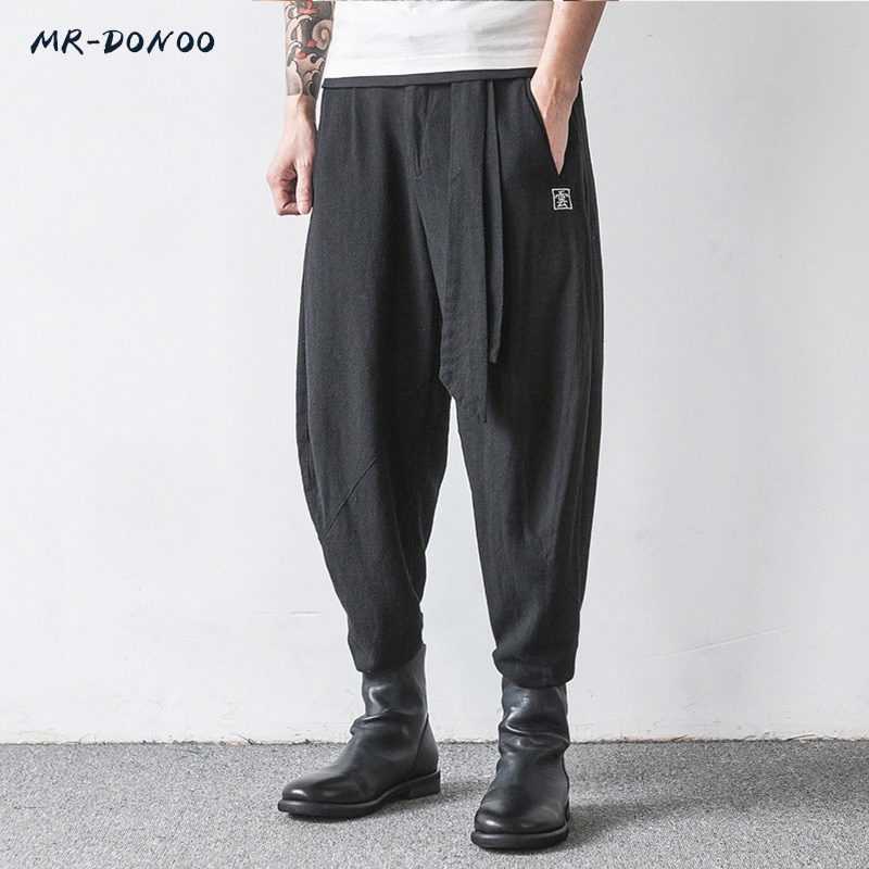MRDONOO Chinese Style Men's Flaxen Trousers Large Loose Wide-legged Feet Pants Harem Pants Retro Cotton Linen Long Pants K32