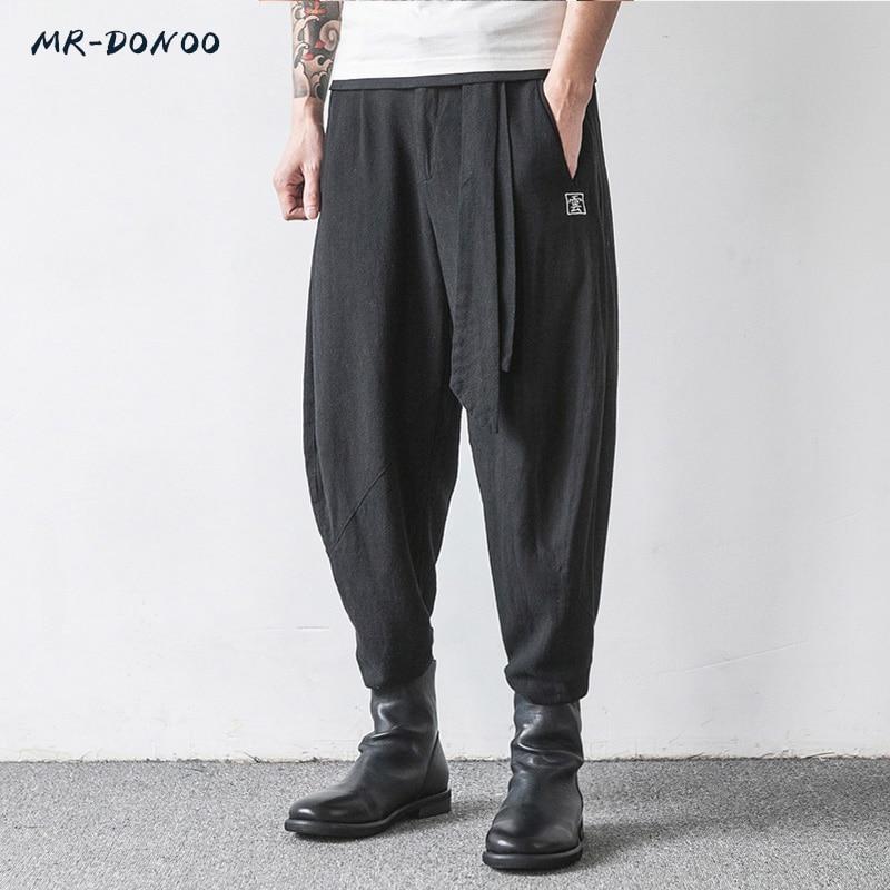 MRDONOO Chinese Style Men's Flaxen Trousers Large Loose Wide-legged Feet Pants Harem Pants Retro Cotton Linen Long Pants K32