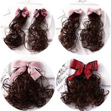 1 pair Children False Curly Hair Bow Knot Hairpin Lovely Princess Style Girls Accessories