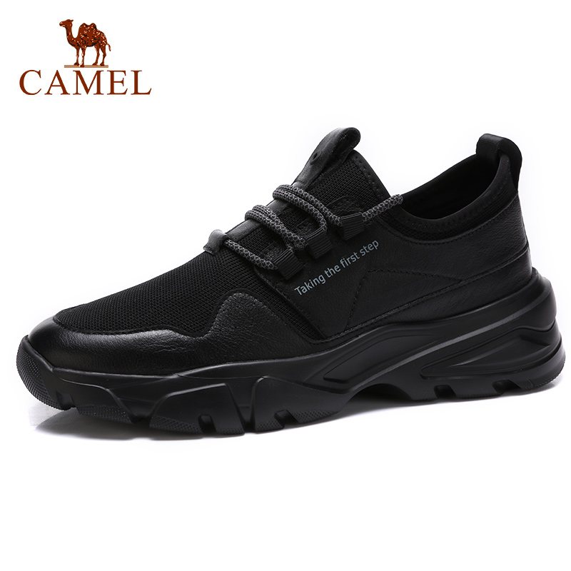 CAMEL Men s Shoes Spring Genuine Leather Casual Fashion Lace up Black Man Footwear Cowhide moccasins