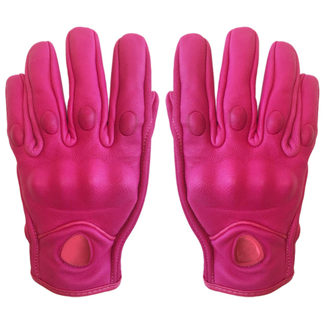 CAR-partment Pink Non-porous Pursuit Street Leather Motorcycle Racing Gloves Off-road