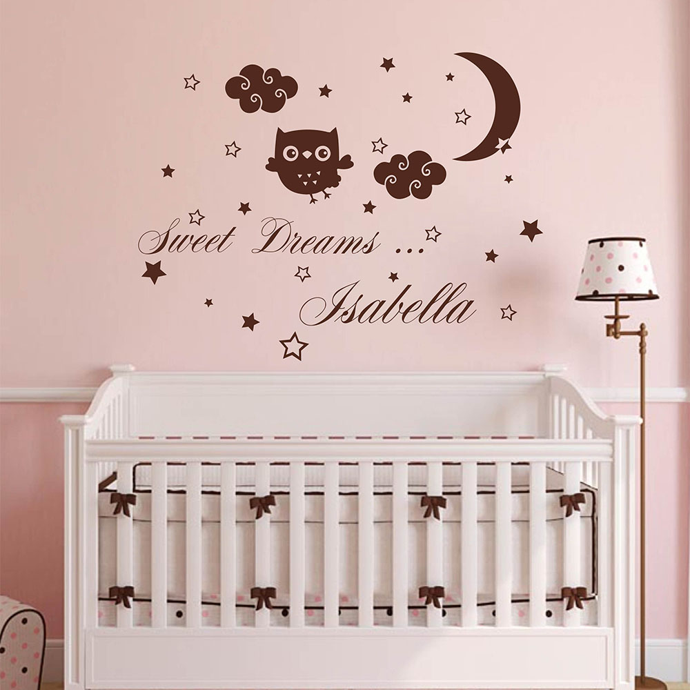 Sweet Dreams Name Nursery Decal Moon Strars and Clouds Nursery Wall Decal Personalized Name Nursery Sticker for Kid Room 895C(China)