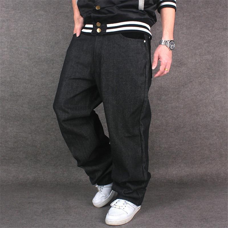 2019 Men Hip Hop Baggy Jeans Black Denim Loose Pants Rap Jeans Letter Written Boy Rapper Fashion Big Size Famous Brand Jeans