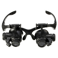 Magnifier 10X 15X 20X 25X Spectacles Glasses Magnifier LED Lamp Loupe Jewellery Maintain With 8pcs Lens