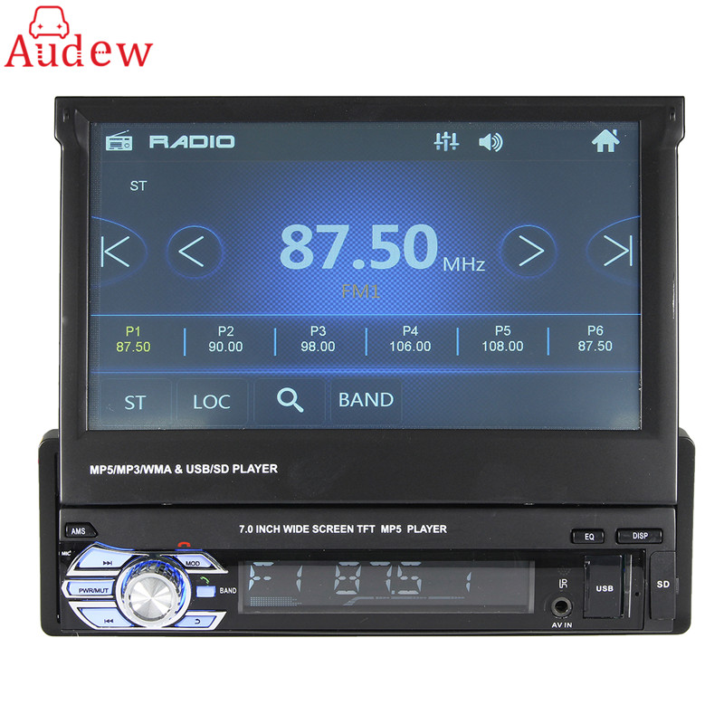 7 Inch Steering Wheel Control Car Radio 1 DIN In Dash Stereo FM/AUX/USB/TF/Bluetooth MP5 MP4 Player 12v 4 1 inch hd bluetooth car fm radio stereo mp3 mp5 lcd player steering wheel remote support usb tf card reader hands free