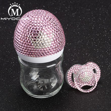 MIYOCAR Bling lovely pink and white crown 120ml glass Feeding Bottle bling pacifier for baby shower gift