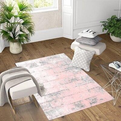 Else Pink Gray Vintage Wooden Retro 3d Print Non Slip Microfiber Living Room Decorative Modern Washable Area Rug Mat
