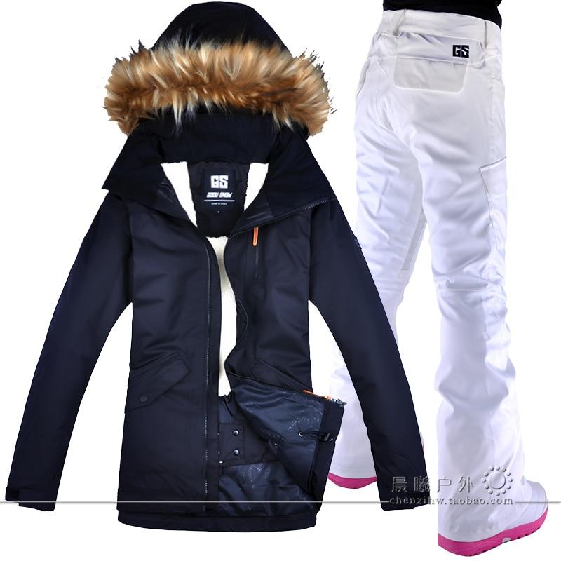 2018 GSOU SNOW Women Ski Suit Snowboard Jacket Pant Winter Clothing Trouser Outdoor Sport Wear Female Super Warm Thicken Suit men plus size 4xl 5xl 6xl 7xl 8xl 9xl winter pant sport fleece lined softshell warm outdoor climbing snow soft shell pant