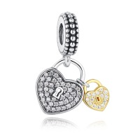 Love Locks Clear CZ Dangle 100% 925 Sterling Silver Charm Beads Fit Pandora  European Charms Bracelet Y