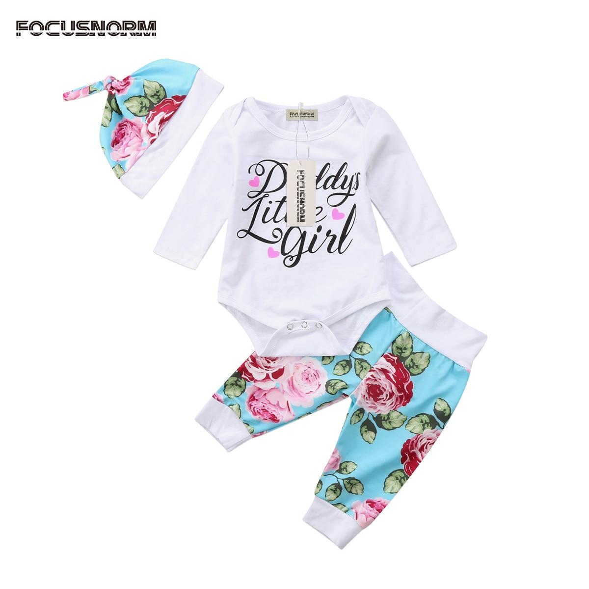 Милые Дети новорожденных Для маленьких мальчиков и девочек комбинезон с длинными рукавами топы; одежда штаны с цветочным принтом, леггинсы ...