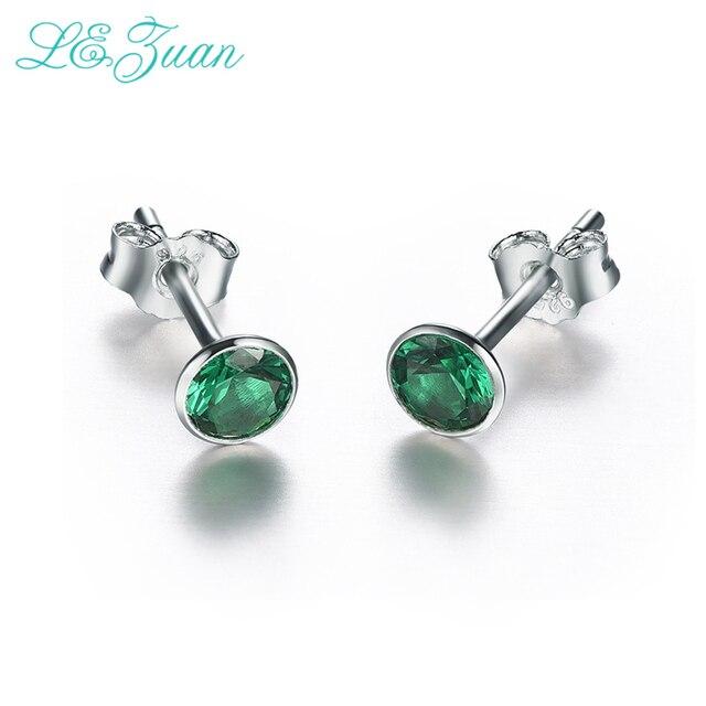 L&zuan 925 Sterling Silver Jewelry Green Emerald Earrings Natural Gemstone Elega