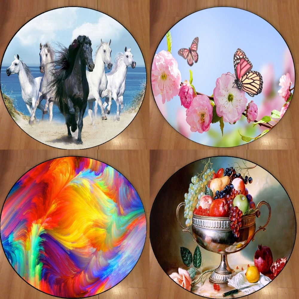 Else Abstract Pink Flower Running Horses 3d Fruits Microfiber Round Carpets Area Rug For Living Rooms Kitchen Bedroom Bathroom