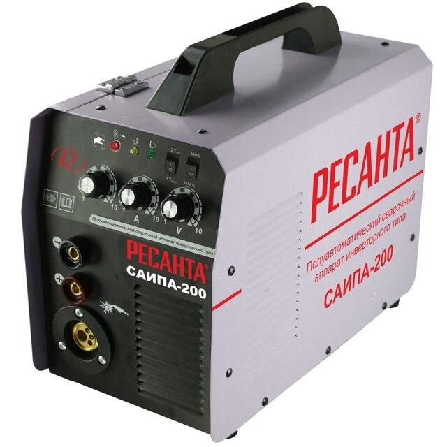 Аппарат сварочный инверторный полуавтоматический РЕСАНТА САИПА-200 (Напряжение питания 220 В, сварочный ток 10-200 А, продолжительность включения 70%190А, функция MMA)